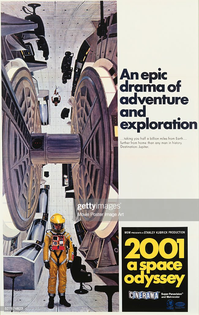 A poster for Stanley Kubrick's 1968 science fiction film '2001: A Space Odyssey'.