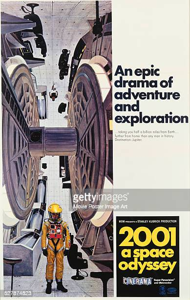 A poster for Stanley Kubrick's 1968 science fiction film '2001 A Space Odyssey'