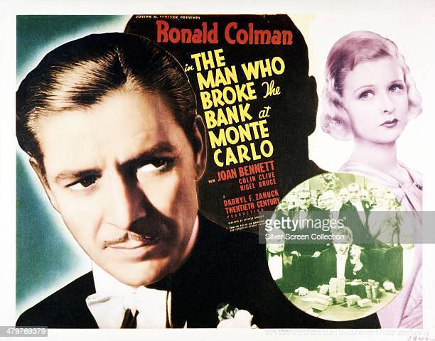 A poster for Stephen Roberts' 1935 romantic comedy 'The Man Who Broke The Bank At Monte Carlo' starring Ronald Colman and Joan Bennett
