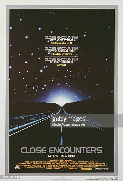 A poster for Steven Spielberg's 1977 science fiction film 'Close Encounters of the Third Kind'