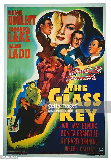 A poster for Stuart Heisler's 1942 drama 'The Glass Key' starring Alan Ladd Veronica Lake and Brian Donlevy