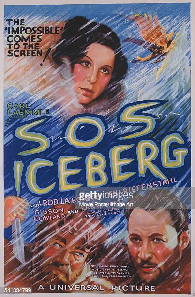 Poster for Tay Garnett's US version of the 1933 arctic thriller, 'S.O.S. Iceberg', starring Leni Riefenstahl, Gibson Gowland and Rod La Roque. A...