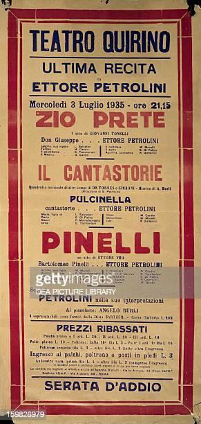 Poster for Teatro Quirino in Rome for Ettore Petrolini's last performance July 1935 Italy 20th century