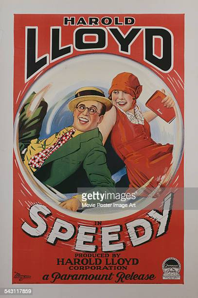 A poster for Ted Wilde's 1928 action film 'Speedy' starring Harold Lloyd and Ann Christy