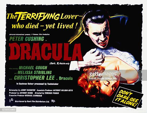 A poster for Terence Fisher's 1958 horror 'Dracula' starring Christopher Lee and Melissa Stribling