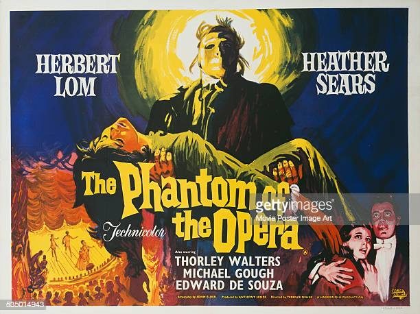 A poster for Terence Fisher's 1962 drama 'The Phantom of the Opera' starring Herbert Lom and Heather Sears