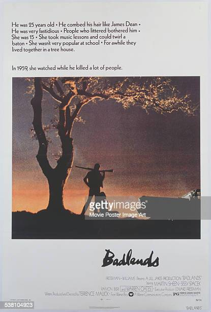 A poster for Terrence Malick's 1973 crime film 'Badlands'