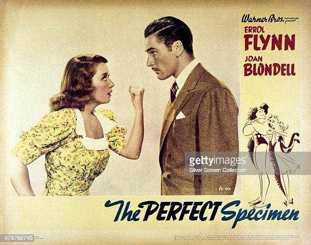 A poster for the 1937 comedy 'The Perfect Specimen' directed by Michael Curtiz and starring Errol Flynn and Joan Blondell