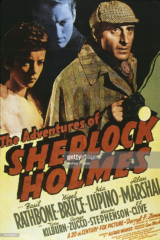 A poster for the 1939 film 'The Adventures of Sherlock Holmes', starring British actor Basil Rathbone (1892 - 1967) and Ida Lupino (1918 - 1995).