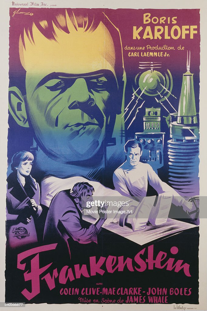 A poster for the 1947 French re-release of James Whale's 1931 horror film 'Frankenstein', starring Colin Clive as Henry Frankenstein, and Boris Karloff as the monster.