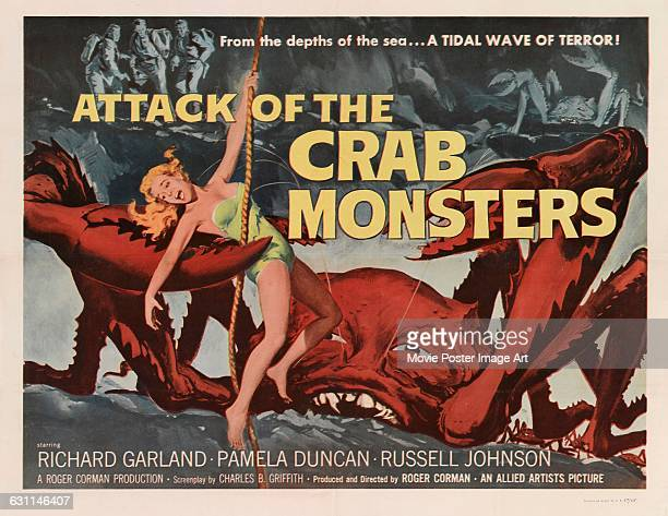 A poster for the 1957 horror science fiction film 'Attack of the Crab Monsters' directed by Roger Corman for Allied Artists Pictures