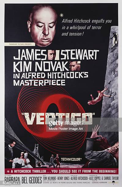 A US poster for the 1958 psychological thriller 'Vertigo' directed by Alfred Hitchcock and starring James Stewart and Kim Novak