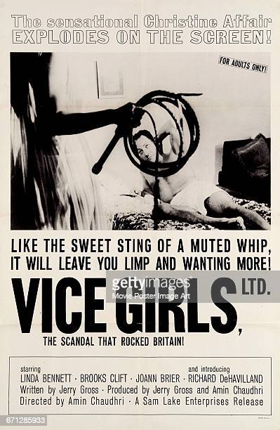 Image contains suggestive contentA poster for the 1964 pornographic film 'Vice Girls Ltd' which capitalises on the Profumo affair of 1961