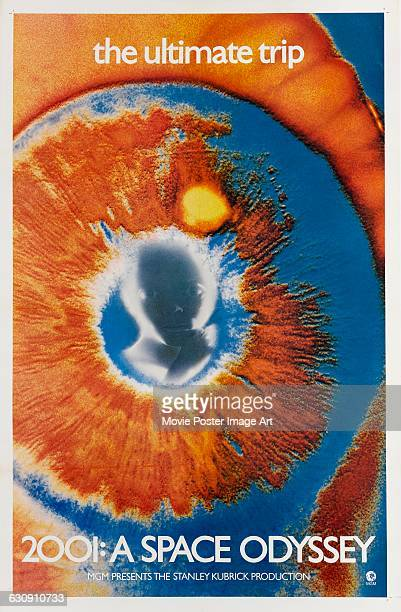 A poster for the 1968 science fiction film '2001 A Space Odyssey' directed by Stanley Kubrick for MGM The poster features the Star Child reflected in...