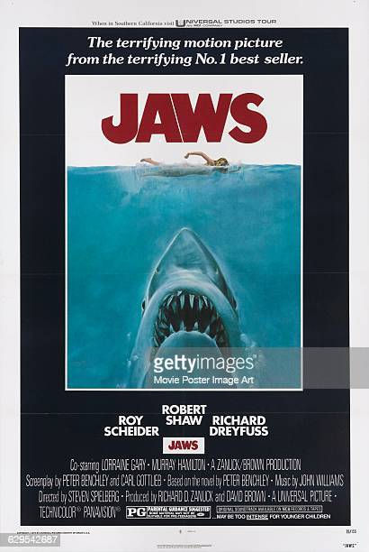 A poster for the 1975 American film 'Jaws' directed by Steven Spielberg for Universal Studios