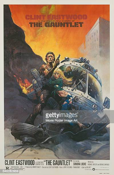 A poster for the 1977 action thriller 'The Gauntlet' starring Sondra Locke and Clint Eastwood Eastwood also directed the film