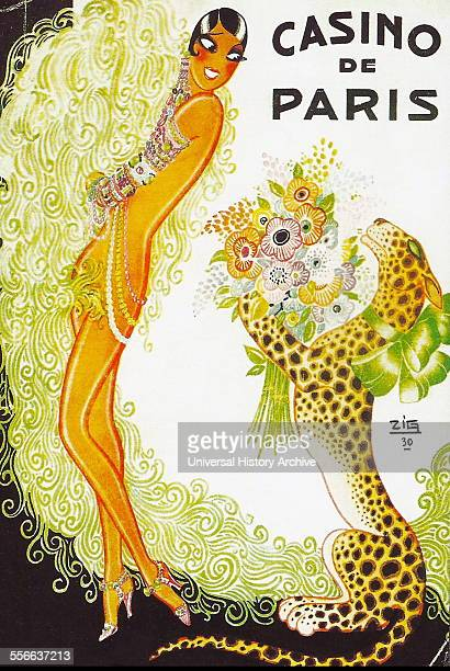 Poster for the AfricanAmerican cabaret dancer and singer Josephine Baker appearing in Paris France