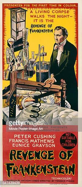 A poster for the Australian release of Terence Fisher's 1958 horror film 'Revenge Of Frankenstein' starring Peter Cushing