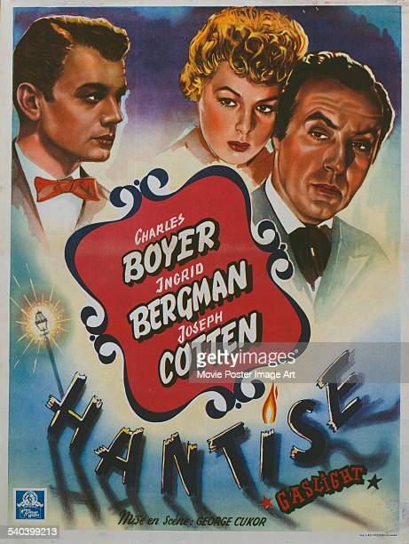A poster for the Belgian release of George Cukor's 1944 mysterythriller 'Gaslight' starring Joseph Cotten Ingrid Bergman and Charles Boyer