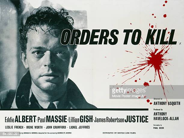 A poster for the British release of Anthony Asquith's 1958 wartime drama 'Orders To Kill' starring Paul Massie