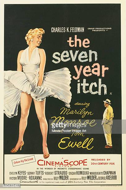 A poster for the British release of Billy Wilder's 1955 romantic comedy 'The Seven Year Itch' starring Marilyn Monroe and Tom Ewell
