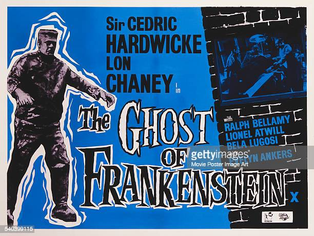 A poster for the British release of Erle C Kenton's 1942 horror film 'The Ghost Of Frankenstein' starring Lon Chaney Jr as the monster