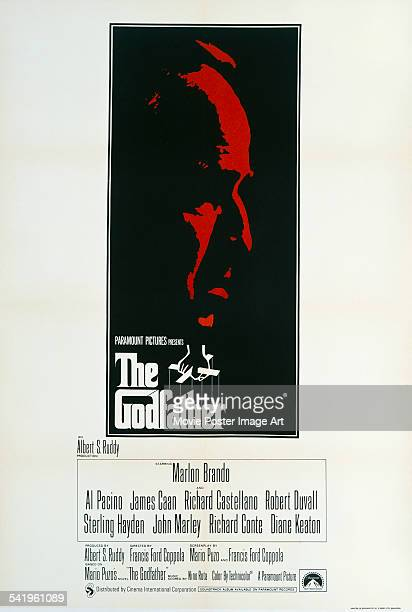 A poster for the British release of Francis Ford Coppola's 1972 crime film 'The Godfather' starring Marlon Brando