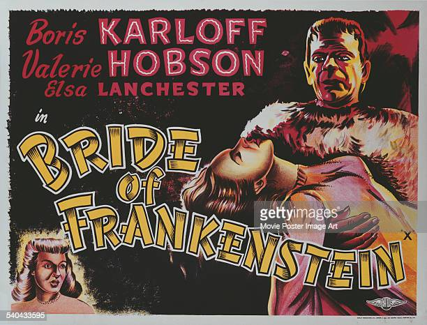 A poster for the British release of James Whale's 1935 horror film 'Bride Of Frankenstein' starring Boris Karloff and Elsa Lanchester