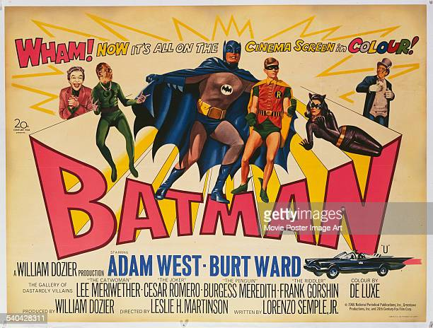 Poster for the British release of Leslie H. Martinson's 1966 superhero comedy, 'Batman The Movie', starring Cesar Romero, Frank Gorshin, Adam West,...