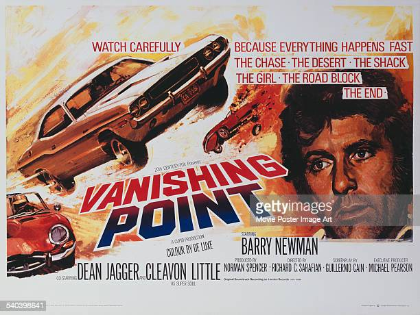 A poster for the British release of Richard C Sarafian's 1971 action road movie 'Vanishing Point' starring Barry Newman