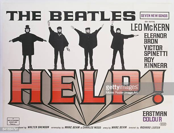 A poster for the British release of Richard Lester's 1965 comedy 'Help' starring starring the Beatles George Harrison Ringo Starr John Lennon and...