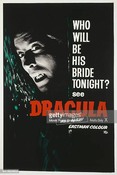 A poster for the British release of Terence Fisher's 1958 horror film 'Dracula' starring Christopher Lee The film was retitled 'Horror of Dracula'...