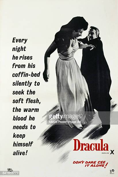 A poster for the British release of Terence Fisher's 1958 horror film 'Dracula' starring Christopher Lee and featuring Valerie Gaunt The film was...