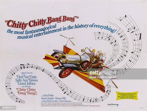 A poster for the children's musical film 'Chitty Chitty Bang Bang' featuring the titular flying car 1968