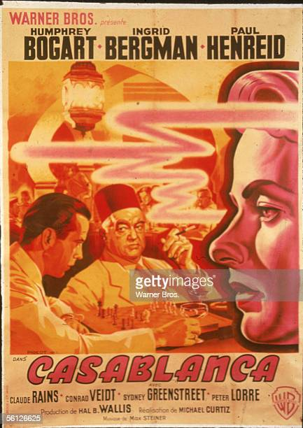 Poster for the classic American dramatic film 'Casablanca' starring Humphrey Bogart and Ingrid Bergman and directed by Michael Curtiz, 1942. Photo...