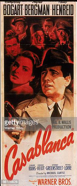 Poster for the classic American dramatic film 'Casablanca' starring Humphrey Bogart and Ingrid Bergman and directed by Michael Curtiz, 1942.