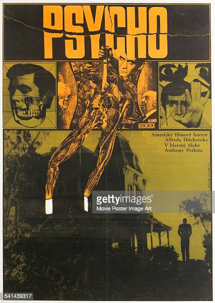 A poster for the Czechoslovakian release of Alfred Hitchcock's 1960 psychological thrillerhorror film 'Psycho' starring Anthony Perkins Hitchcock...