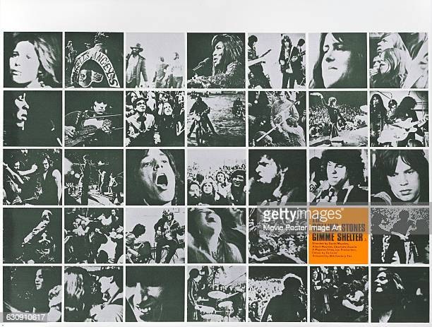 A poster for the documentary film 'Gimme Shelter' which follows the Rolling Stones on their 1969 tour of the US