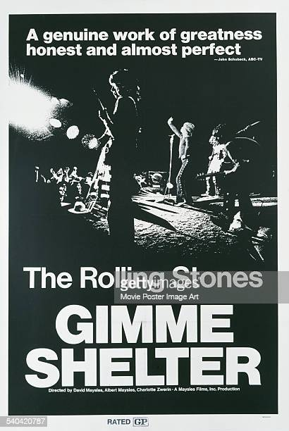 A poster for the documentary 'Gimme Shelter' which follows The Rolling Stones on their 1969 US tour The film was directed by Albert and David Maysles...