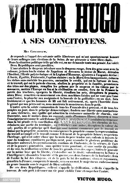 Poster for the election of Victor Hugo 19th century France