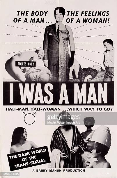 Image contains suggestive contentA poster for the exploitation film 'I Was a Man' a biopic of hermaphrodite Ansa Kansas who went through a gender...