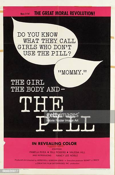 Image contains suggestive contentA poster for the exploitation film 'The Girl the Body and the Pill' directed by Herschell Gordon Lewis 1967