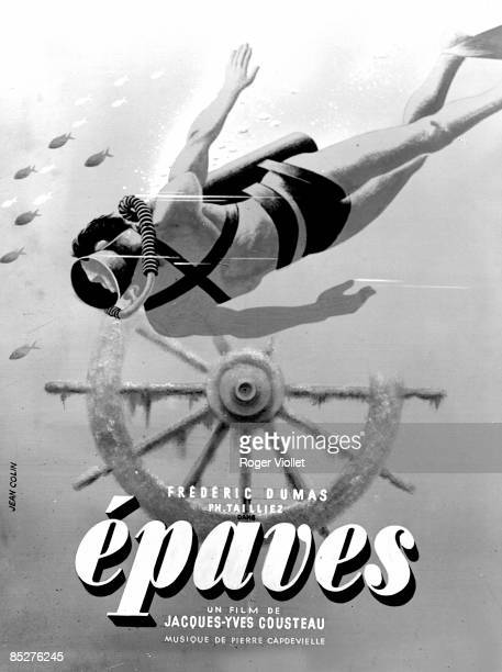 Poster for the film Epaves by Captain Jacques Cousteau showing a diver wearing scuba gear and swimming underwater 1945