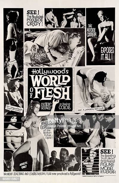 Image contains suggestive contentA poster for the film 'Hollywood's World of Flesh' a documentary on sex in Hollywood directed by Lee Frost 1963
