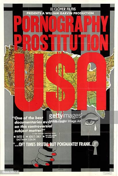 Image contains suggestive contentA poster for the film 'Prostitution Pornography USA' a documentary on the sex trade directed by Susumu Tokunow 1971