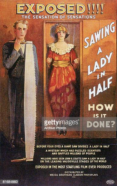 A poster for the film 'Sawing a Lady in Half' in which John E Coutts exposes the secrets of the famous magic act 1922