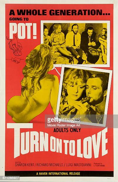 Image contains suggestive contentA poster for the film 'Turn on to Love' about life in the Greenwich Village hippy community 1969