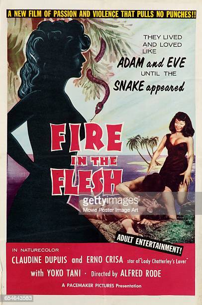 Image contains suggestive contentA poster for the French film 'Fire in the Flesh' starring Claudine Dupuis Erno Crisa and Yoko Tani and directed by...