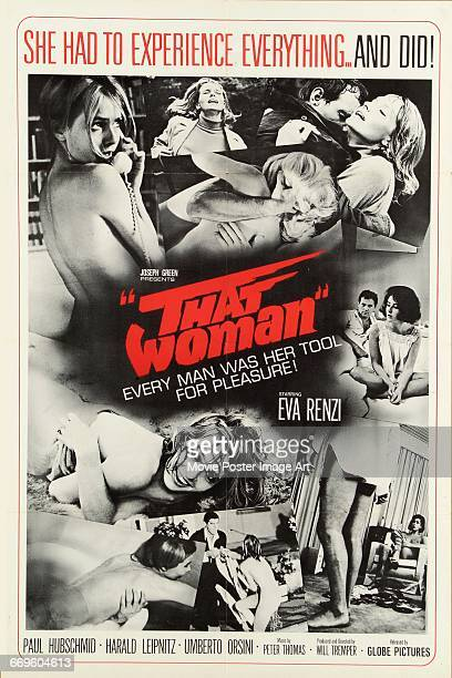 Image contains suggestive contentA poster for the German language film 'That Woman' starring Eva Renzi 1966