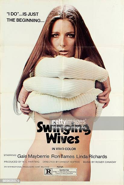 Image contains suggestive contentA poster for the German pornographic film 'Swinging Wives' directed by Ernst Hofbauer 1971